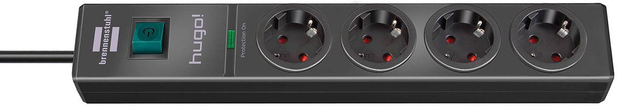 Brennenstuhl Hugo!, Black сетевой фильтр на 4 розетки с заземлением (2 м)1150610314Сетевой фильтр Brennenstuhl Hugo! эффективно защищает подключенные приборы от повреждений, вызываемых перенапряжением, и избавляет тем самым от дорогостоящего ремонта. Удобное расположение розеток, интересное цветовое исполнение, прекрасные функциональные характеристики - все это вы почувствуете, когда приобретете этот сетевой фильтр. Включатель с подсветкой Розетки с защитой от детей Розетки с заземлением, расположены под углом 45° Оптический индикатор функции защиты от перегрузки Возможность настенного монтажа Тип кабеля: H05VV-F3G1,5