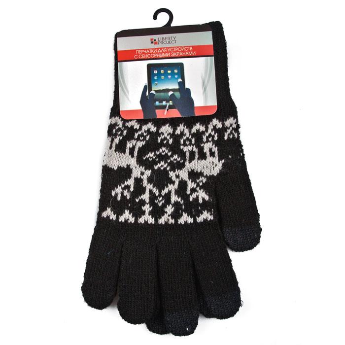 Liberty Project Олени, Black перчатки для сенсорных экранов, размер L (1008)R0000499Перчатки Liberty Project Олени предназначены для удобства использования цифровых устройств с сенсорными экранами в сезон холодов и для работы при низких температурах. Указательный, средний и большой пальцы имеют на подушечках перчаток проводящие сенсорные нити, что позволяет пользоваться мобильным устройством, не снимая перчаток.