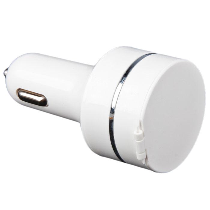 Liberty Project Car Charger, White автомобильное ЗУR0002562Автомобильное зарядное устройство Liberty Project Car Charger для смартфонов, планшетных ПК и совместимых устройств. Совместимо с iPhone, iPod, iPad. В комплекте кабель-рулетка с разъемами Apple 8-pin, 30-pin, MicroUSB