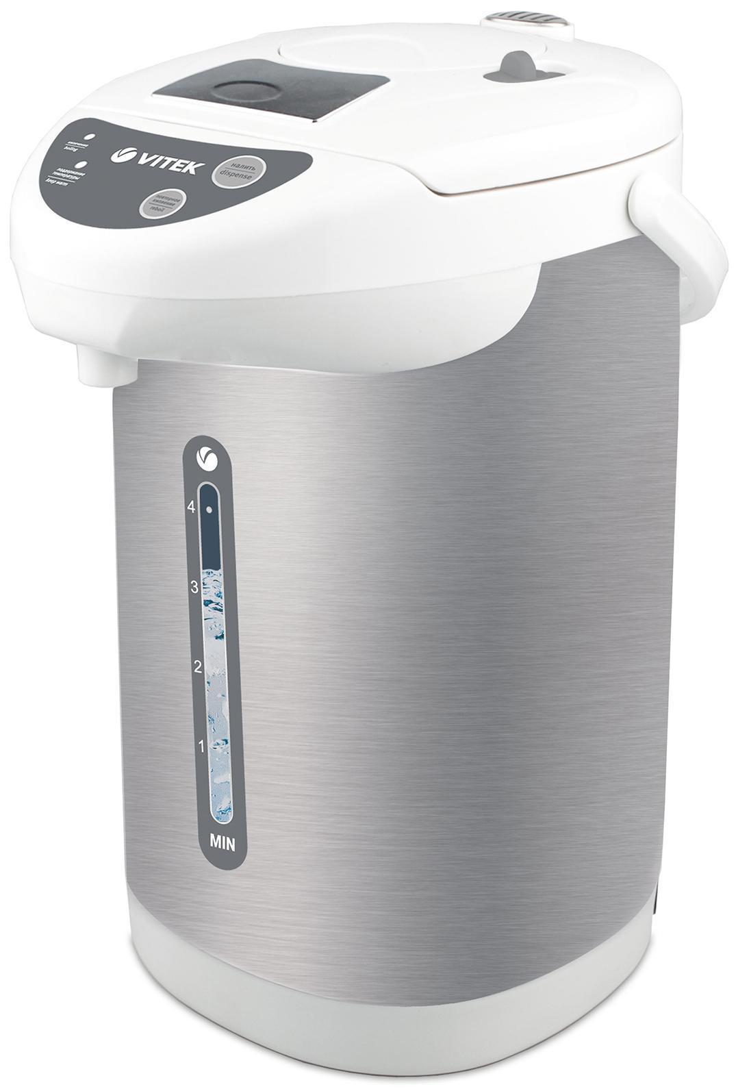 Vitek VT-1196(W) термопотVT-1196(W)Вы, ваши близкие и коллеги - большие любители чая и кофе? Вам не хватает терпения и времени ежечасно включать чайник, чтобы приготовить любимые горячие напитки дома или на работе? Тогда вашим незаменимым помощником станет термопот VT-1196 W. С резервуаром для воды объемом 4 л функциональное устройство позволит целый день наслаждаться вкуснейшим чаем или кофе! Для того, чтобы получить данное количество кипятка, вам стоит лишь нажать на соответствующую кнопку. Главное преимущество термопота в том, что в течение всего дня вода останется горячей: так вы экономите не только силы, но и электроэнергию. Если термопот находится в режиме поддержания температуры, то в действие приводится функция повторного кипячения. Налить горячую воду в чашку вы можете без усилий: вы можете использовать как ручную, так и автоматическую подачу воды. Контролировать количество воды в термопоте возможно при помощи специальной прозрачной шкалы с метками, благодаря которой вы определите уровень воды в резервуаре.