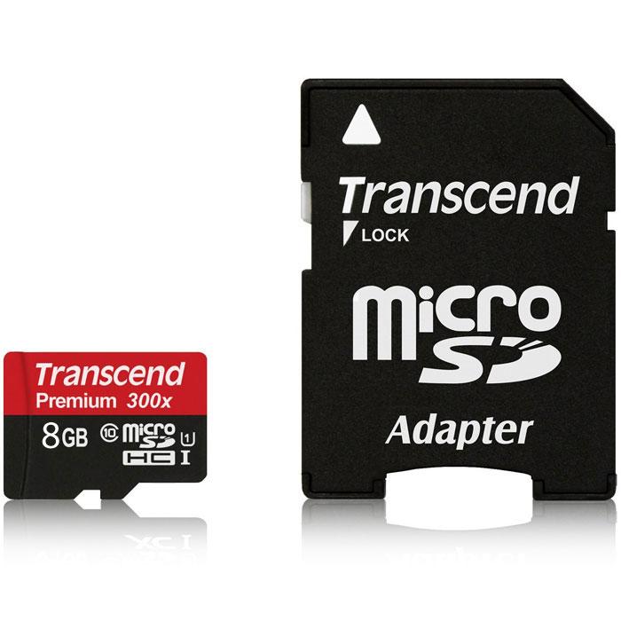 Transcend microSDHC Class 10 UHS-I 300x 8GB карта памяти с адаптером (TS8GUSDU1)TS8GUSDU1Карты памяти Transcend microSDHC UHS-I поддерживают спецификацию Ultra High Speed Class 1 и предназначены для повышения эффективности работы вашего смартфона и планшета. Карты памяти включают технологию нового поколения и обеспечивают максимально возможное быстродействие во время работы требующих большое количество памяти мобильных приложений и игр, а также обеспечивают плавные запись и воспроизведение видео в разрешении Full HD. Внимание: перед оформлением заказа убедитесь в поддержке вашим электронным устройством карт памяти данного объема.