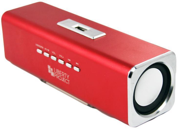 Liberty Project K-101, Red портативная колонкаCD124412Liberty Project K-101 - это компактная портативная акустическая система, совместимая с большинством аудиоустройств. Небольшие размеры и встроенный аккумулятор дают возможность использовать колонки в мобильном режиме, в любом месте, где нет электричества. Скромные с виду динамики обеспечивают вполне серьезную громкость и с легкостью озвучивают небольшое помещение или место пикника, отдыха. Для подключения можно использовать стандартный аудиоразъем 3.5 мм. Liberty Project K-101 - прекрасное решение для всех, кто хочет слушать любимую музыку в компании и не зависеть от розетки. Кроме того, у данной модели акустики есть возможность воспроизводить аудиофайлы непосредственно с карты памяти или обычной USB-флешки.