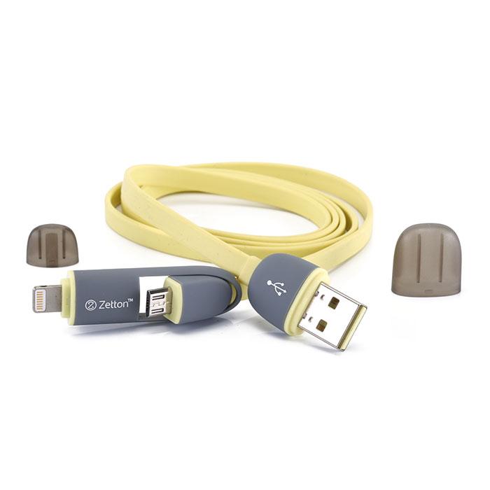 Zetton ZTLSUSB2IN1 USB кабель с разъемами Apple 8 pin/Micro-USB, YellowZTLSUSB2IN1BYZetton ZTLSUSB2IN1 - составной плоский кабель, который подходит для зарядки и передачи данных устройств с разъемами microUSB и Lightning. Снабжен защитными колпачками для удобства хранения и транспортировки.