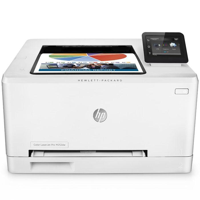 HP LaserJet Pro M252dw лазерный принтер (B4A22A)B4A22AКомпактный принтер HP LaserJet Pro M252dw и оригинальные лазерные картриджи HP, поддерживающие технологию JetIntelligence, помогают в полной мере соответствовать бизнес-требованиям за счет готовности к работе в любое время.Быстрая и автоматическая двусторонняя печать обеспечивает профессиональное качество цветных документов и позволяет выполнять рабочие задачи в кратчайшие сроки.Сенсорный экран диагональю 7,6 см позволяет быстро находить необходимые бизнес-приложения.Печатайте до 18 страниц в минуту — данный принтер способен переходить из спящего режима в рабочий быстрее любой другой модели в этом классе.Отправляйте на печать документы Microsoft Word и PowerPoint прямо с USB-накопителя.Технология NFC позволяет одним касанием передавать на принтер документы с мобильных устройств без подключения к сети.Откройте для своих сотрудников преимущества прямой беспроводной печати с мобильных устройств без подключения к корпоративной сети.Для отправки заданий печати с большинства смартфонов и планшетов не потребуются специальные приложения.Оригинальные цветные лазерные картриджи HP увеличенной емкости, поддерживающие технологию JetIntelligence, обеспечивают максимальную производительность.Оригинальный тонер HP ColorSphere 3, разработанный специально для принтеров HP, гарантирует профессиональное качество и высокую скорость печати.Технология защиты от злоумышленников — гарантия знаменитого качества HP.Устройство поставляется уже готовым к работе и содержит предварительно установленные лазерные картриджи. При необходимости их можно заменить на специальные картриджи увеличенной емкости.