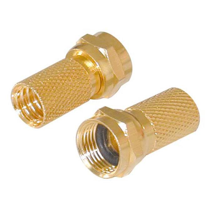 Vivanco разъем F штырь 7 мм золоченый c резиновой прокладкой, 2 шт.44004Коннекторы Vivanco для коаксиальных кабелей диаметром 7 мм.
