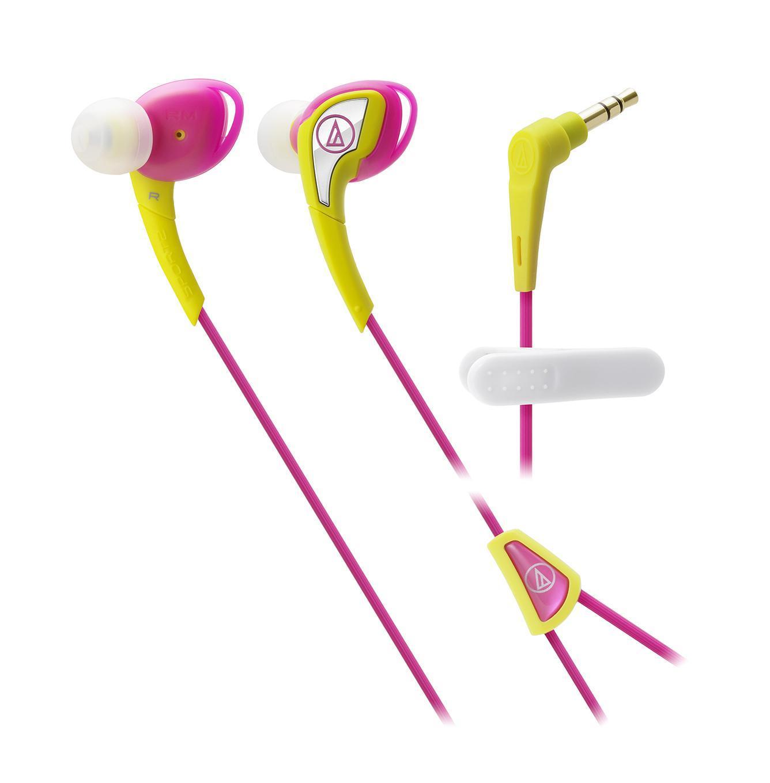 Audio-Technica ATH-SPORT2, Yellow Pink наушникиATH-SPORT2 YPAudio-Technica SPORT2 – наушники-вкладыши с традиционным дизайном чашек, подходящим для занятий спортом. Модель подходит тем спортсменам, кто предпочитает ношение солнечных очков во время тренировок. Силиконовый корпус подстраивается под индивидуальные особенности уха слушателя, мягкая легкая конструкция модели не вызывает дискомфорта длительное время, а 10-мм драйверы производят чистый насыщенный саунд. Все это превращает тренировку в настоящее наслаждение и приближает слушателя к вершинам спортивного мастерства. Влагозащита IXP5 выдерживает самые интенсивные занятия спортом, тренировки под дождем, а также чистку наушников под струей воды после очередной пробежки. Наушники для занятий спортом Гибкая силиконовая конструкция, удобное крепление Чистый насыщенный саунд Влагозащита уровня IXP5. Укороченный кабель с клипсой