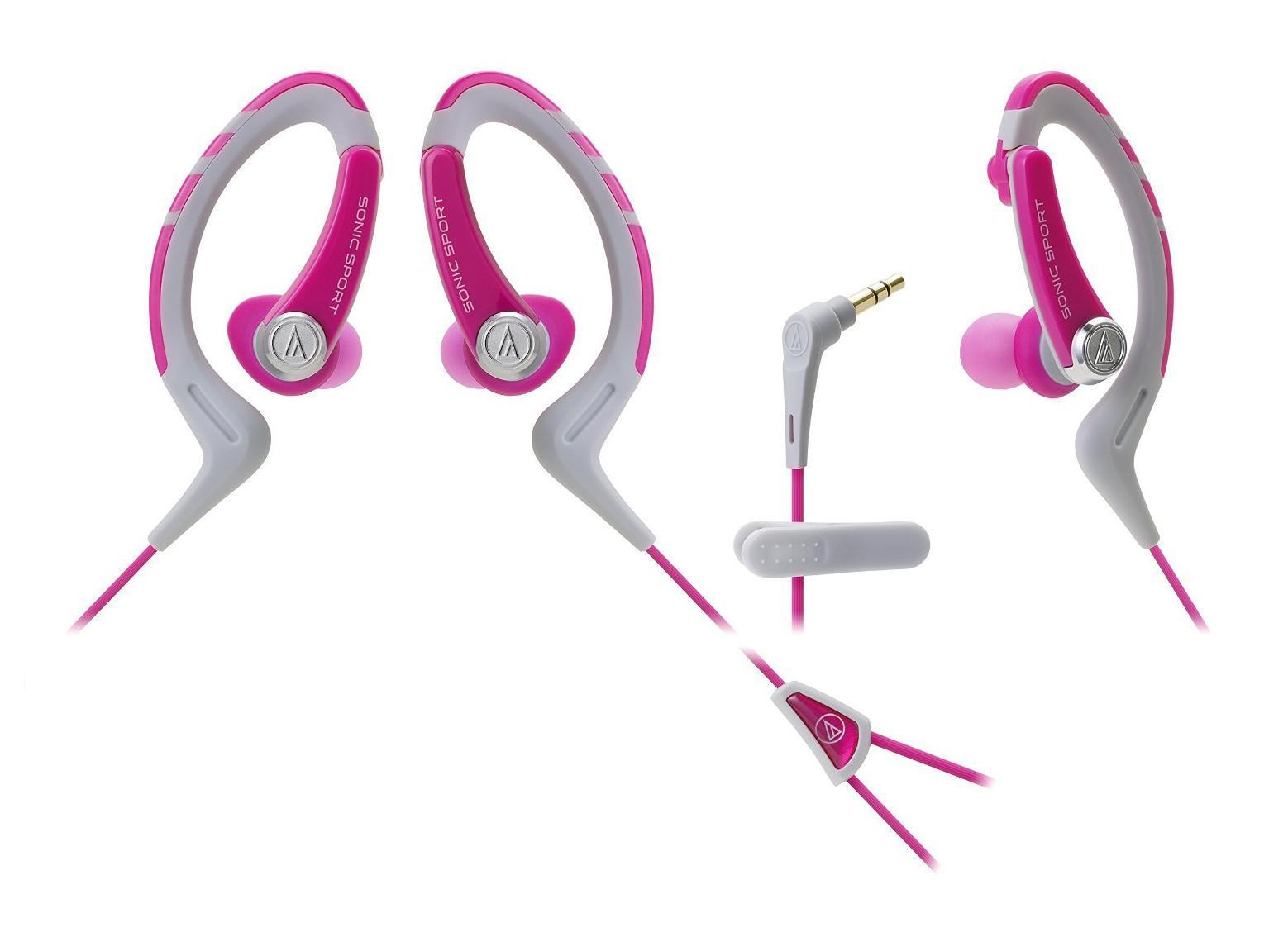 Audio-Technica ATH-Sport1, Pink наушникиATH-SPORT1 PKНаушники-аксессуар, идеальны для занятий спортом Удобное гибкое резиновое крепление за ухом Долгие часы динамичного звучания Влагозащита уровня IXP5 Укороченный кабель с клипсой