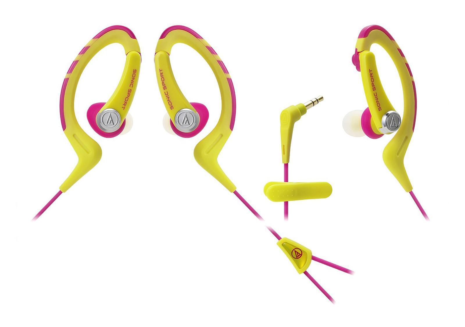 Audio-Technica ATH-Sport1, Yellow наушникиATH-SPORT1 YPНаушники-аксессуар, идеальны для занятий спортом Удобное гибкое резиновое крепление за ухомДолгие часы динамичного звучанияВлагозащита уровня IXP5Укороченный кабель с клипсой