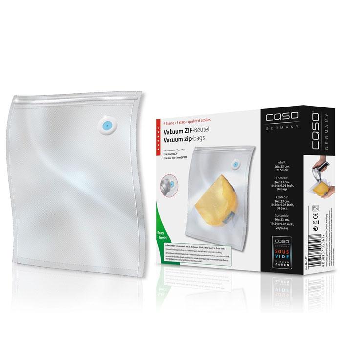 CASO ZIP 26х23 пакеты для вакуумного упаковщика, 20 шт.VC ZIP 26*23Специальные прочные пакеты CASO ZIP для вакуумного упаковщика с ZIP-замком. Ребристая внутренняя поверхность для оптимального вакуумирования. Высокая прочность пакета допускает замораживание, использование в СВЧ печи, готовку по технологии Sous-Vide.