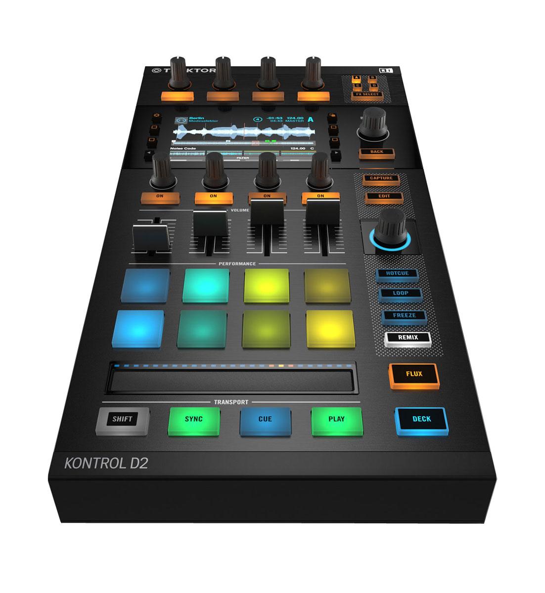 Native Instruments Traktor Kontrol D2 DJ-контроллерMCI53178Native Instruments Traktor Kontrol D2 - новейший компактный контроллер с поддержкой формата Stem, созданный специально для диджеев. Это идеальное решение для гастролирующего диджея.Полноцветный 11-сантиметровый дисплей устройства позволяет диджею полностью сосредоточиться на выступлении, а не на работе с ноутюуком. Вы можете просматривать треки, эффекты, форму волны и настройки фильтров непосредственно на контроллере.Native Instruments Traktor Kontrol D2 предоставляет полный контроль над Remix-деками, позволяет создавать ремиксы на лету, а также в режиме реального времени использовать семплы, лупы и cue-точки при помощи восьми пэдов с подсветкой. Сенсорная полоса Touch Strip, расположенная под пэдами, выполняет несколько функций, в том числе скретчинг. Также стоит отметить новые режимы работы Freeze и Flux.Контроллер оснащён 4-мя складными ножками с резиновыми подкладками, за счёт чего устройство можно расположить под углом или вровень с микшером. На задней стенке D2 имеется USB-хаб на два порта, что позволит вам легко подключить 2 девайса в цепь быстро и легко.Системные требования: Процессор: Intel Core i5 или AMD ОЗУ: 4 ГБМесто на жестком диске: 1,5 ГБМонитор с разрешением 1024 x 768OpenGL 2.1 или вышеИнтерфейс USB 2.0