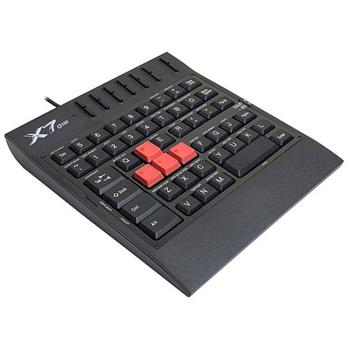 A4Tech X7-G100, Black игровой блок511469A4Tech X7-G100 – профессиональный игровой блок серии Х7. Разработан специально для геймеров. В игровом блоке реализовано все для лучшего результата Вашей игры: 4 игровые клавиши, сменные игровые панели, компактный размер, увеличенный вес по сравнению с обычной клавиатурой для большей устойчивости. 4 цветные клавиши прорезинены. Это создает комфорт для пальцев в течение многих «игровых» часов. Клавиши можно настраивать для самых «горячих» игр. 4 сменные промаркированные панели поставляются вместе с клавиатурой. На панели есть надписи ключевых функций игр. Они помогут Вам быстро освоиться и управлять всеми видами игр. Водонепроницаемые свойства блока – уникальны. Клавиши специально загерметизированы, так что теперь можно не бояться пролить чай или кофе на клавиатуру.