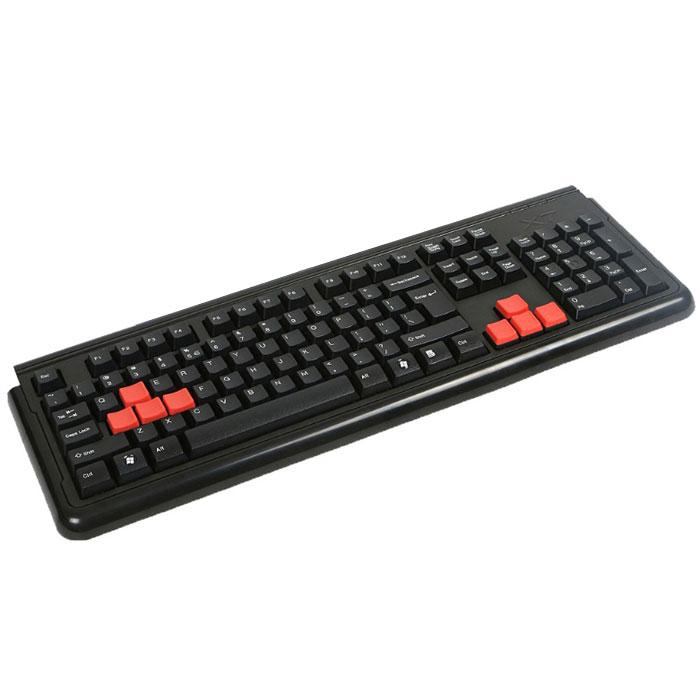 A4Tech X7-G300 USB, Black клавиатура512748Новая проводная (USB) клавиатура A4Tech X7-G300 обладает уникальными игровыми свойствами. Она имеет четыре скоростных режима, сверхбыстрое время отклика и укомплектована 8 дополнительными сменными прорезиненными игровыми клавишами, что создаёт комфорт для пальцев в течение многих «игровых» часов. Скоростной режим клавиатуры можно менять прямо в процессе игры. Время отклика в режиме «Турбо» в три раза меньше, чем у обычной клавиатуры: всего 7,92 миллисекунды.Переключение режимов не требует установки дополнительных драйверов и регулируется клавишей переключения скорости. Каждый из четырёх скоростных режимов имеет цветовую индикацию. Клавиша смены управления позволяет одним нажатием переключить управление движением с курсорных клавиш (для игры) на клавиши «W», «A», «S», «D» (для работы за ) и обратно. A4Tech X7-G300 обладает уникальными влагозащитными свойствами. Все компоненты полностью загерметизированы водостойким клеем, так что клавиатуру спокойно можно мыть даже под проточной водой. Для обеспечения большей устойчивости во время напряженных игровых баталий вес новинки специально увеличен втрое по сравнению с обычными клавиатурами.Клавиатура имеет русскую раскладку.