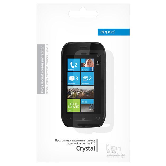 Deppa защитная пленка для Nokia Lumia 710, прозрачная61187Прозрачная пленка Deppa защитит устройство от царапин. Пленка изготовлена из трехслойного японского материала PET.