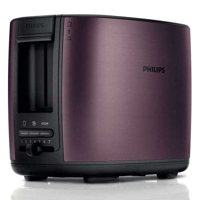 Philips HD2628/90, Lilac тостерHD2628/90Тостер Philips HD2628 с отделениями регулируемой ширины для приготовления вкусных тостов. Готовьте равномерно подрумяненные до золотистой корочки тосты разной толщины. Прибор удобен в использовании и оснащен такими полезными функциями, как разморозка и подогрев. Безопасное использование благодаря специальному подъемнику, кнопке отмены и не нагревающейся внешней поверхности. Съемный поддон для крошек для простой очистки: Простая очистка благодаря съемному поддону для крошек. Корпус тостера не нагревается: Корпус тостера Philips не нагревается. Регулятор степени обжаривания: Индивидуальная настройка температурного режима для приготовления вкусных тостов. Система автоматического отключения при застревании ломтика хлеба: Тостер автоматически выключается, если ломтик хлеба застрял внутри. Разморозьте хлеб или подогрейте недавно приготовленные тосты за один прием: Кнопка разморозки на тостере позволяет размораживать и...