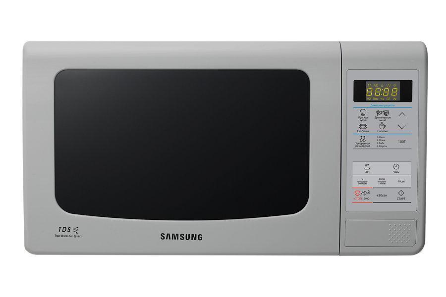 Samsung ME-83KRS-3 СВЧ-печьME83KRS-3/BWБольшинство покупателей хочет, чтобы их микроволновая печь обладала большой вместительностью, но в то же время была компактной. По высоте и ширине данная модель не отличается от 20-литровой, глубина печи увеличилась всего на 12 мм, за счет чего внутренний объем стал на 3 литра больше. Расширилась и полезная площадь камеры: теперь в печи могут с легкостью уместиться блюда до 388 мм в диаметре.Во всех микроволновых печах Samsung, используется БИОкерамическое покрытие камеры. Этот материал экологически безопасен, его легко очищать от загрязнений. Он в 10 раз более устойчив к царапинам, чем, например, нержавеющая сталь. Покрытие прочное и гладкое, на нем почти не остается нагара. БИОкерамика обладает низкой теплопроводностью, это сокращает время приготовления и уменьшает теплопотери. Кроме того, БИОкерамическое покрытие обладает еще одним полезным свойством - материал препятствует размножению бактерий на 99,9%, что доказано исследованиями Лаборатории Хоэнштейн, Германия.Инженеры компании Samsung постоянно совершенствуют и улучшают рабочие характеристики своей продукции, используя для этого самые новейшие технологии. Наша уникальная система тройного распределения микроволн (Triple Distribution System) обеспечивает равномерный прогрев продуктов, начиная от пиццы и заканчивая нагревом стакана молока. Пользуясь нашими микроволновыми печами, вы оцените удобство и комфорт процесса приготовления самых разнообразных блюд.