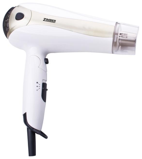 Zimber ZM-10914 фенZM-10914Фен Zimber ZM-10914 представляет собой надежный и компактный прибор для эффективной сушки волос. Индивидуальный подбор режима работы позволит выбрать оптимальную мощность и температуру воздушного потока, причем присутствует и опция подачи воздуха без нагрева. В конструкции предусмотрена петля для подвешивания, что обеспечивает легкий доступ к прибору и удобное его хранение. При высокой мощности модель отличается необычайной легкостью и весьма скромными размерами, которые при необходимости можно сократить еще больше благодаря специальной складной ручке.