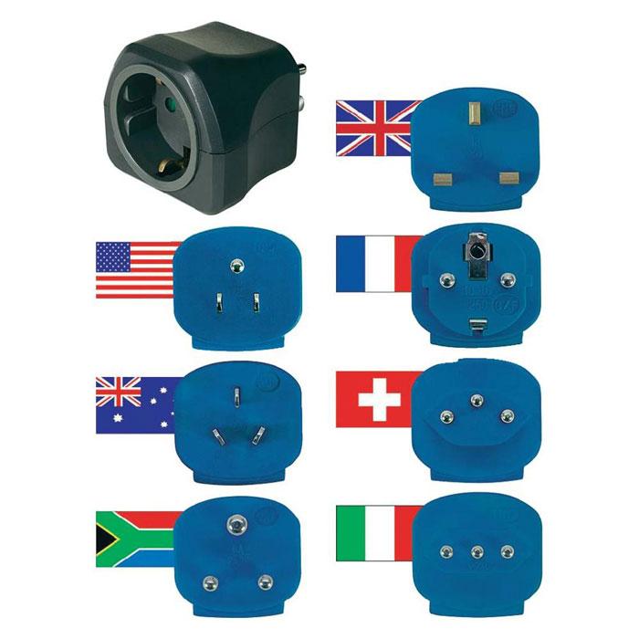 Brennenstuhl Travel Plugs набор сетевых переходников для туристов (1508160)1508160Brennenstuhl Travel Plugs (1508160) - набор из 7 сетевых переходников для туристов состоит из набора вилок различных стандартов (английский, французский, американский, швейцарский, итальянский, австралийский и южноафриканский) и розетки евростандарт для подключения вилок.