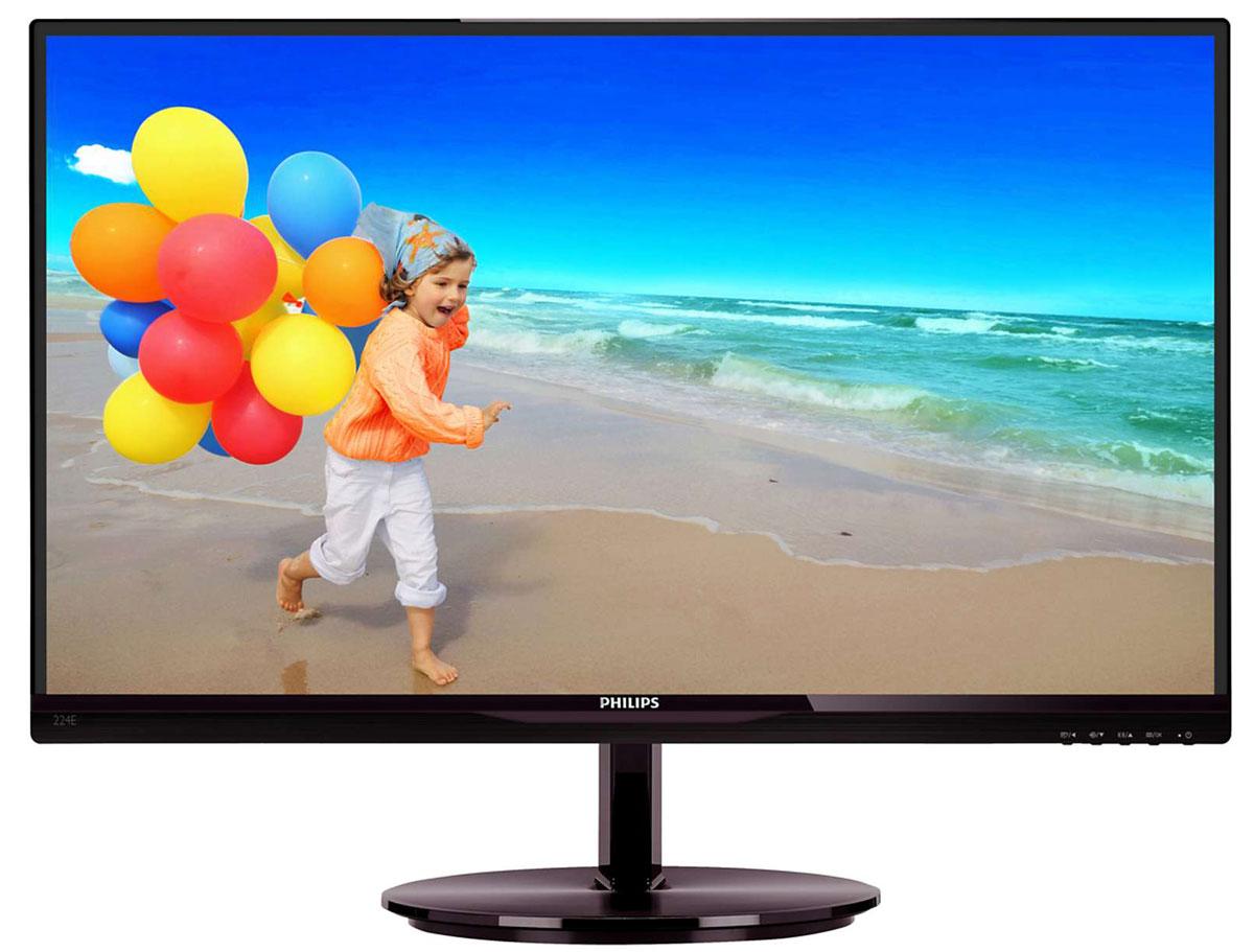 Philips 224E5QSB (00/01), Black Cherry монитор224E5QSBЧерный глянцевый корпус монитора Philips 224E5QSB подойдет и для домашней обстановки, так и для офиса. Современная технология матрицы АН-IPSобеспечивает отличные показатели воспроизведения изображения в качестве Full HD с разрешением 1920х1080 и дает возможность наслаждаться реалистичным изображением в натуральной цветовой гамме. Также у модели ощутимо снижен коэффициент энергопотребления. Светодиодная подсветка и широкий угол обзора обеспечивают максимальное качество изображения. В корпусе монитора расположены D-SUB и DVI-разъемы для подключения к ПК, а также предусмотрена система настенного крепления VESA.