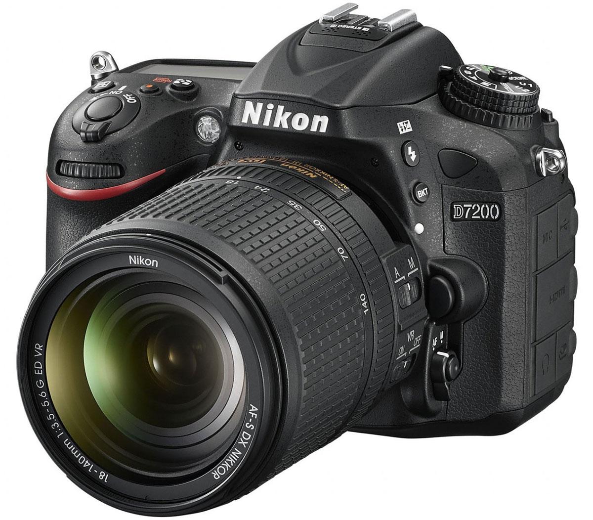 Nikon D7200 Kit 18-140 VR, Black цифровая зеркальная фотокамераVBA450KR01Совершенствуйте искусство фотографии с инновационной фотокамерой Nikon D7200. Эта цифровая зеркальная фотокамера формата DX гарантирует получение превосходных резких изображений и видео в отличном качестве, а также предоставляет все возможности для связи. Nikon D7200 - универсальная модель с быстрым откликом, которая превосходит любые ожидания. Реальность превосходит ожидания Невероятная детализация изображений с 24,2-мегапиксельной матрицей: создавайте фотографии с совершенно новым уровнем качества. Фотокамера D7200 оснащена матрицей формата DX с разрешением 24,2 мегапикселя, в конструкции которой не используется оптический низкочастотный фильтр (OLPF), что позволяет в полной мере реализовать потенциал матрицы для создания неизменно резких изображений в широком динамическом диапазоне, с низким уровнем шума и насыщенными цветами. АФ профессионального уровня Благодаря лучшей в своем классе системе АФ фотокамера D7200 фокусируется с...