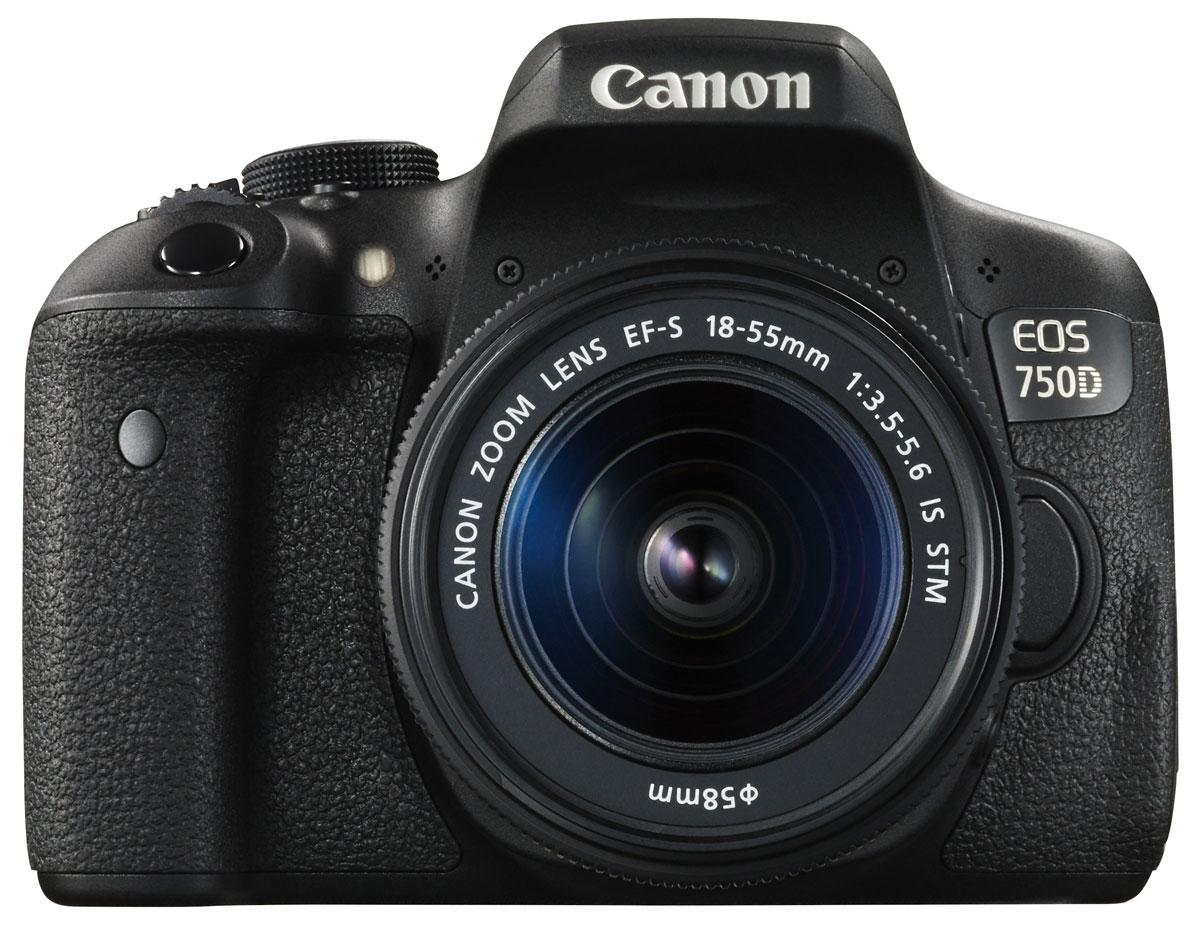 Canon EOS 750D Kit 18-55 IS STM, Black цифровая зеркальная фотокамера0592C005Достигайте новых уровней мастерства в фотосъемке с зеркальной фотокамерой Canon EOS 750D.Простая съемка мельчайших деталей в любой ситуацииСнимайте яркие и детализированные изображения в высоком разрешении с расширенным динамическим диапазоном, пониженным уровнем шума и превосходным контролем глубины резкости благодаря 24,2-мегапиксельному датчику APS-C.Удобный видоискательEOS 750D оснащена интеллектуальным видоискателем, который обеспечивает улучшенные возможности съемки. Глядя в видоискатель, легче видеть точку фокусировки и любые активные области автофокусировки. Кроме того, четко отображается информация о съемке.Различные режимы съемкиС легкостью снимайте великолепные фотографии благодаря последним технологиям цифровых зеркальных камер с базовыми и творческими режимами, которые позволят вам самостоятельно выбирать уровень контроля над параметрами съемки.Поворотный экран для творческого выстраивания композицииИсследуйте интересные ракурсы и наслаждайтесь удобными и интуитивными элементами управления на трехдюймовом (7,7 см) сенсорном ЖК-экране с регулируемым углом наклонаБыстрый процессор для съемки в движенииМощный процессор DIGIC 6 обеспечивает съемку в полном разрешении на скорости 5 кадров/сек. — и вы никогда не упустите решающий момент. Делайте памятные снимки при слабом освещении без вспышки с помощью широкого диапазона чувствительности ISO 100–12800 (с возможностью увеличения до ISO 25600).Снимайте видео Full HD с высочайшей детализацией и кинематографическим качеством благодаря управлению глубиной резкости в цифровых зеркальных камерах. Записывайте видео в формате MP4 для удобной отправки на другие устройства.С поддержкой стандартов Wi-Fi и NFC вы можете быстро подключаться и отправлять фотографии и видео на совместимые смартфоны, планшеты или принтеры, а также публиковать их в социальных сетях.