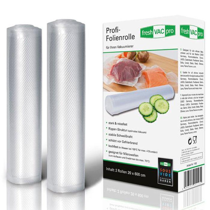 Ellrona FreshVACpro 20х600 пленка в рулоне для вакуумного упаковщика, 2 шт.FreshVACpro 20*600Ellrona FreshVACpro 20х600 - 2 специальных прочных пакета для вакуумного упаковщика с ребристой структурой. Изделие способно выдержать температуру до 70°C в микроволновой печи. Также подходит для су-вид (максимальная температура 95°C, 4 часа).