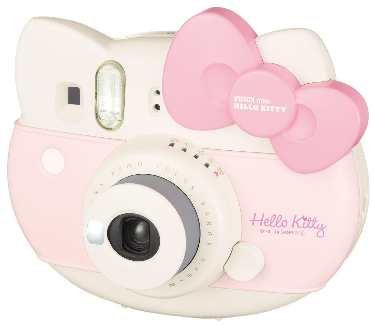 Fujifilm Instax Mini Hello Kitty, Pink фотоаппарат моментальной печати16444064Трогательный Instax Mini Hello Kitty является достойным представителем семьи Instax. В набор включены аксессуары Hello Kitty лимитированной серии: разноцветный ремешок для ношения на плече, кассета Hello Kitty на 10 снимков, а также комплект наклеек с этим милым котиком. В Instax Mini Hello Kitty предусмотрена возможность настройки стандартной экспозиции в 4 уровня: солнечно, облачно, пасмурно и в помещении. В дополнение к этим экспозициям в камере Instax Mini Hello Kitty присутствует High-Key съемка: с ее помощью вы будете получать яркие и теплые снимки, благодаря повышению диафрагмы на 2/3 части. При съемке маленьких предметов используйте объектив макро-съемки и на снимке вы получите их увеличенное изображение. В камеру уже встроено зеркальце для селфи и стандартный комплект идет с макро-линзой для съемки с близких расстояний. Выдержка в обозначении 1/60 сек Рекомендуемое расстояния при съемке 60 см - 3 м Объектив Fujinon Размер...