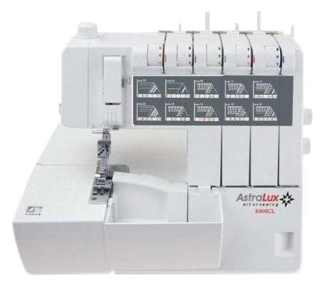 Astralux 8000CL коверлок8000CLКоверлок AstraLux 8000 CL – новая модель с функцией распошивального шва. Это особенно важно для профессионалов в указанном деле. Машина способна выполнять до 20 видов самых различных швов, в том числе она может работать со сверхлегкими и сверхтяжелыми тканями. Контроль натяжения нитей осуществляется в автоматическом режиме, имеется регулятор давления лапки на ткань.Коверлок снабжен мусоросборником, который позволит вам содержать рабочее место в абсолютной чистоте. Коверлок может работать с различным количеством тканей, в том числе и с текстурированными тканями. Еще одной важной особенностью коверлока является наличие швейного советника. Эта функция препятствует неверной настройке машины и неправильным действиям при осуществлении работы. Советник всегда даст вам подсказку, как осуществить заправку оверлока для конкретного шва, он обязательно подаст сигнал в случае выполнения неправильных действийВ комплект входит запасная педаль, ножи, щетка для уборки пыли, ограничитель для катушки и масленка. Подробная инструкция позволит вам разобраться во всех тонкостях работы оверлока. Коверлок AstraLux 8000 CL отличается от других тем, что способна выполнять сразу несколько операций одновременно. С помощью коверлока вы сможете не только заниматься швейными операциями, ног и заниматься работой декоративного характера