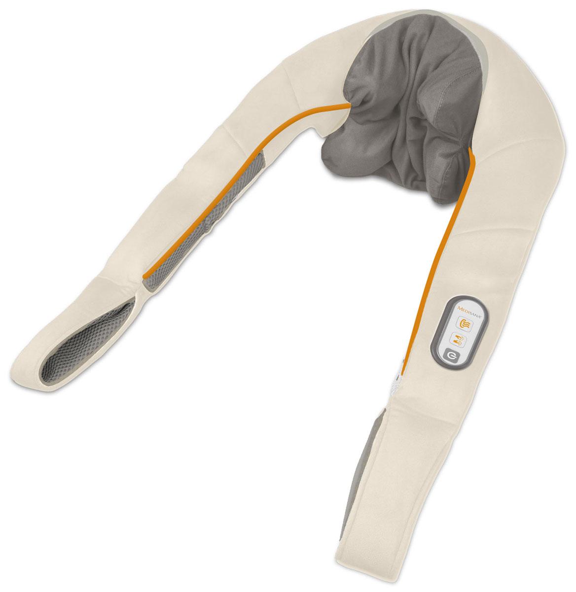 Medisana Массажёр для шеи и плеч, серия NM 86000000706Массажер для шеи и плеч Medisana NM 860 предназначен для массажа области шеи, затылка и плеч. Он является отличным физиотерапевтическим средством, позволяющим проводить полноценные массажные процедуры в домашних условиях. Ввиду определенных антропологических особенностей, шейный участок довольно часто подвергается чрезмерным нагрузкам, приводящим к различным осложнениям. Причиной таких нарушений может служить неправильная осанка или регулярное и длительное нахождение в неудобной сидячей позе. Благодаря удобной конструкции Medisana NM 860, сеансы массажа шеи можно проводить самостоятельно и без посторонней помощи.Массажер Medisana NM 860 особенно эффективен как средство профилактики шейного остеохондроза, ревматизма и радикулита. Также, с его помощью можно успешно лечить такие невралгические нарушения как защемленный либо простуженный нерв в области шеи и верхней части спины. Главным преимуществом Medisana NM 860, при лечении невралгических заболеваний, является прогревающая функция, обеспеченная инфракрасным излучением, отличающимся высокой проникающей способностью.Массажер для шеи, не смотря на свою узкую направленность, является довольно универсальным физиотерапевтическим средством и также успешно может применяться для массажа спины, плеч, живота, голеней и бедер. Воздействие на мягкие ткани осуществляется посредством четырех массажных головок, эргономическая форма которых, обеспечивает деликатное и продуктивное влияние. Благодаря двум режимам интенсивности, становится возможным проводить как легкий расслабляющий, так и массированный лечебный массаж. Регуляция нагрузки на обрабатываемую часть тела осуществляется в ручную, при помощи специальных ремней. Для управления режимами служит встроенный в конструкцию массажера контрольный блок. Питание массажера Medisana NM 860 может производиться как от сети, так и от батареек.Преимущества массажера для шеи и плеч Medisana NM 860:Интенсивный шиатсу массаж области шеиПри