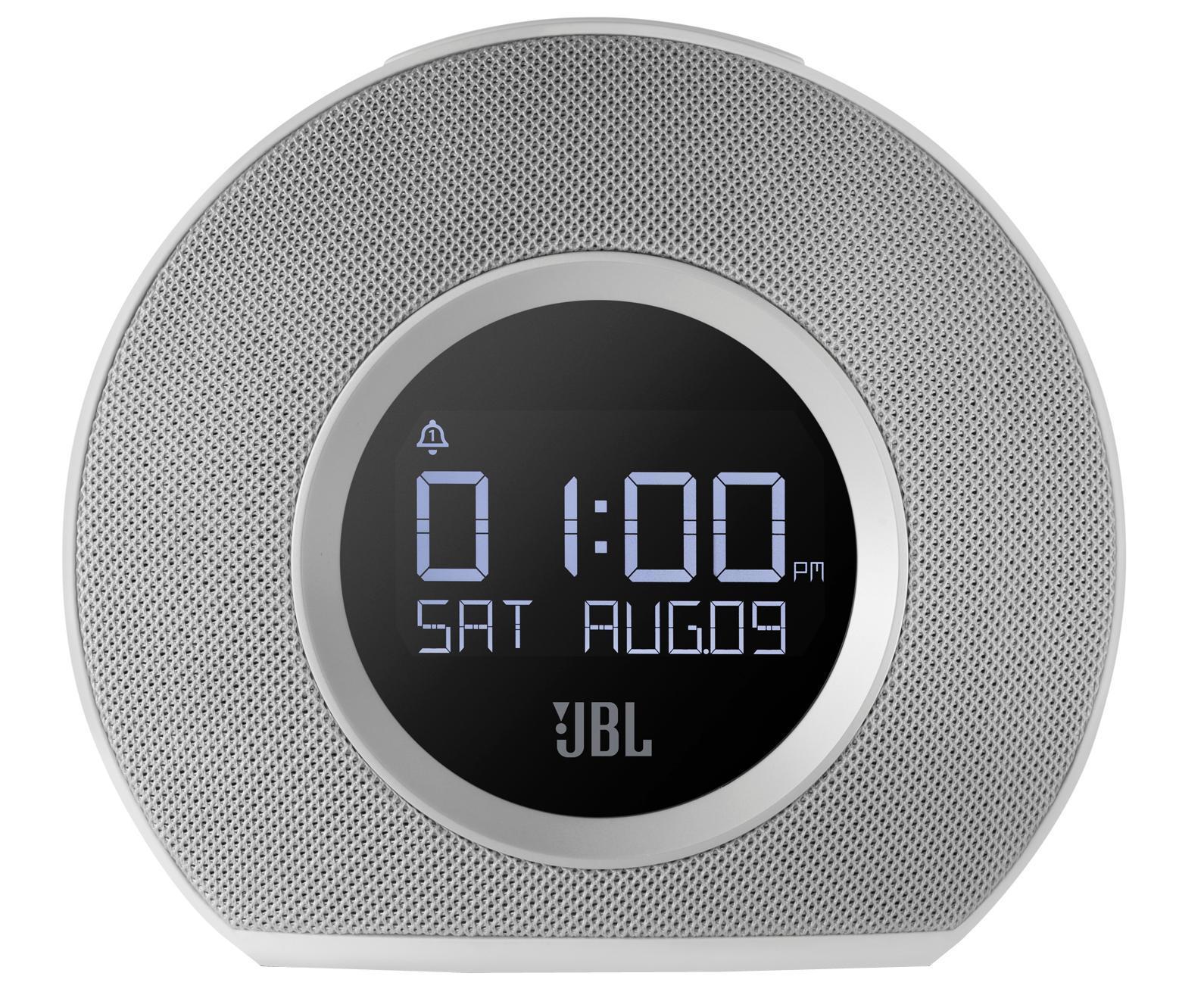 JBL Horizon, White портативная акустическая система6925281901256Два будильника В Horizon встроены два независимых будильника. Просыпаться можно благодаря трем предустановленными сигналами, FM приемнику, музыке на вашем телефоне или традиционному сигналу будильника. JBL Horizon предлагает пять программируемых пресетов FM радио, а также может передавать музыку без проводов с любого телефона или планшета с поддержкой Bluetooth. Компактный дизайн позволит разместить устройство в любом помещении, оно прекрасно впишется в любой интерьер. Два USB порта обеспечивают быструю зарядку любых подключенных устройств. Большая кнопка Snooze/Light в сочетании с четким ЖК-дисплеем делает использование JBL Horizon очень простым и понятным, а встроенная система резервного питания гарантирует, что вы всегда будете просыпаться, даже во время отключения электроэнергии.