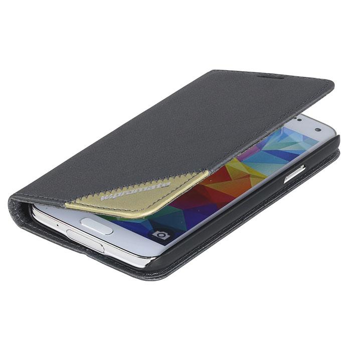 Promate Folio-S5 чехол для Samsung Galaxy S5, Grey00007917Promate Folio-S5 - защитный чехол, который обеспечивает оптимальную сохранность от царапин и потертостей. Когда смартфон не используется, магнитный замок на кожаном язычке надежно фиксирует крышку и обеспечивает сохранность экрана. Также чехол можно использовать в качестве горизонтальной подставки под смартфон. Доступен в разных цветах, что позволяет выбрать чехол в полном соответствии с вашим индивидуальным стилем.