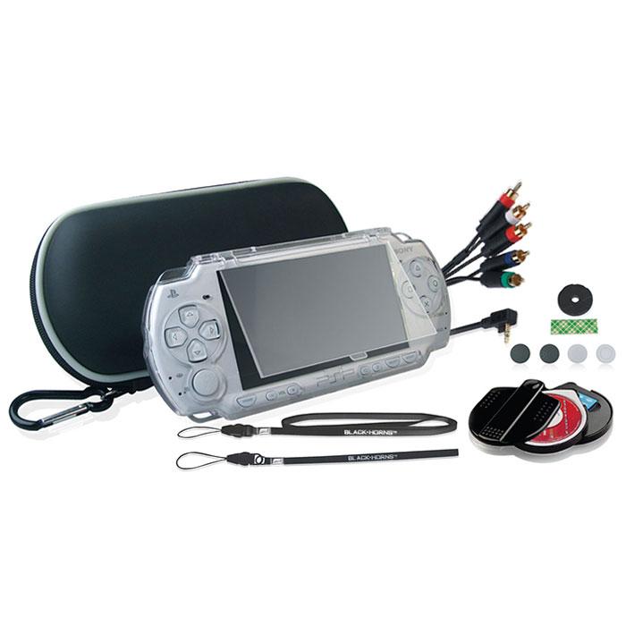 Black Horns Kit 8 in 1 набор аксессуаров для Sony PSP 2000/3000BH-PSP02621H(R)Набор аксессуаров Black Horns Kit 8 in 1 для Sony PSP 2000/3000. В комплект входят: Легкий противоударный чехол, выполненный из двухслойного нейлона. Такой чехол защитит вашу консоль от тряски, ударов и пыли. Съемный карабин позволит надежно закрепить чехол на рюкзаке, сумке или ремне. Чехол имеет отделения для PSP, UMD-дисков и других аксессуаров. Защитный корпус из качественного поликарбоната. Надежно защитит вашу консоль не только во время переноски, но и при использовании. Защитный корпус отлично держится в руках, не скользит. Обеспечивает свободный доступ ко всем клавишам и кнопкам управления. Компонентный AV кабель с металлическими наконечниками. С помощью этого кабеля вы сможете подключить свою консоль к телевизору. При подключении консоль работает в режиме фото, видео, музыка, игра. Кабель поддерживает только NTSC формат. Имеет 480i и 480P выход. Футляр для хранения UMD-дисков и карт памяти Memory Stick. Этот стильный футляр изготовлен из...