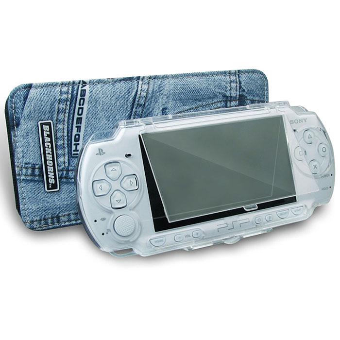 Набор чехлов Black Horns Двойная защита для Sony PSP Slim & LiteBH-PSP02610 (R)Набор чехлов Black Horns Двойная защита для Sony PSP Slim & Lite. В комплект входит защитный пластиковый корпус и джинсовый чехол. Пластиковый корпус защитит вашу приставку от царапин и сколов. В то же время, он обеспечивает прекрасный угол обзора и свободный доступ к кнопкам управления. Защитная крышка UMD-дисковода открывается без снятия корпуса, а специальная подставка позволяет использовать пластиковый корпус как стенд для просмотра видео. Стильный и компактный джинсовый чехол обеспечит удобство переноски вашей консоли. В нем легко помешается пластиковый корпус для приставки.