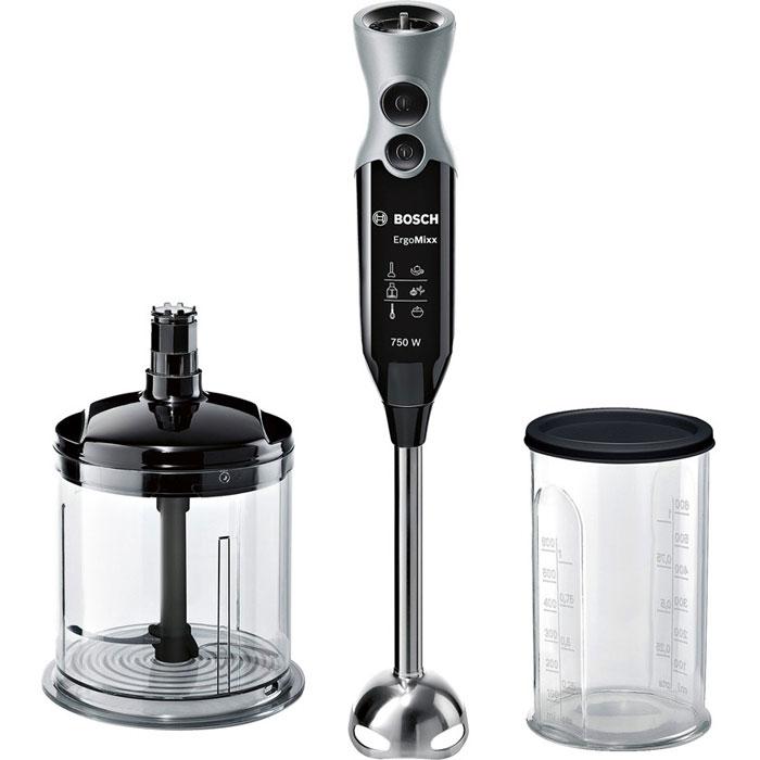 Bosch MSM 67140, Black блендерMSM67140RUЛюбая домохозяйка оценит приготовление свежих качественных блюд. Для их приготовления не надо быть профессиональным поваром. Благодаря новому блендеру Bosch MSM 67140 вы быстро и просто добьетесь профессиональных результатов на собственной кухне. Легкий, со специальной эргономичной ручкой и приятным на ощупь нескользким покрытием, блендер Bosch MSM 67140 имеет 12 режимов скорости и дополнительную кнопку Турборежим для максимальной мощности. Ножка из нержавеющей стали с 4 острыми лезвиями ножа QuattroBlade создана для быстрого измельчения и смешивания продуктов.