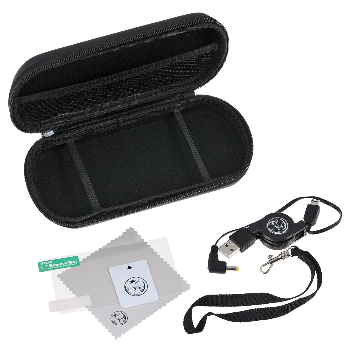 Black Horns Kit 5 in 1 набор аксессуаров для Sony PSP E1000/2000/3000BH-PSE0804(R)Набор аксессуаров Black Horns Kit 5 in 1 для Sony PSP E1000/2000/3000. В комплект входит полиуретановый чехол для хранения и транспортировки портативной игровой консоли. Для зарядки устройства в набор включен сворачиваемый кабель USB (2 в 1). Салфетка из микрофибры поможет вам очистить поверхность приставки от пыли и грязи. А пленка для защиты экрана убережет его от царапин и потертостей. Для ее наклеивания предназначена специальная карточка для удаления пузырьков воздуха.