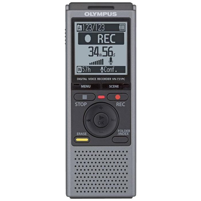 Olympus VN-731PC, Grey диктофон0274525Диктофон Olympus VN-731PC создан для начинающих пользователей, но подходит и для профессионалов. Даже начинающие пользователи смогут легко пользоваться этим диктофоном благодаря двум режимам отображения данных на дисплее. В простом режиме на дисплей крупным шрифтом выводится только необходимая информация, а пункты меню ограниченны наиболее часто используемыми функциями. Для профессионалов предлагается полный набор функций меню в стандартном режиме. Крупный, всенаправленный, малошумный микрофон улавливает каждую деталь записи. Великолепен для записи диктовок благодаря понижению шума и снижению звуков дыхания. Встроенная подставка на задней панели диктофона облегчает настольную запись, снижает шум трения и дарит невероятную чистоту звука. Обеспечьте достойное качество записи, правильно выбрав сцену записи. Ваш диктофон мгновенно выставит оптимальные параметры записи. Режимы Запись телефонных переговоров и Копирование могут быть использованы с...