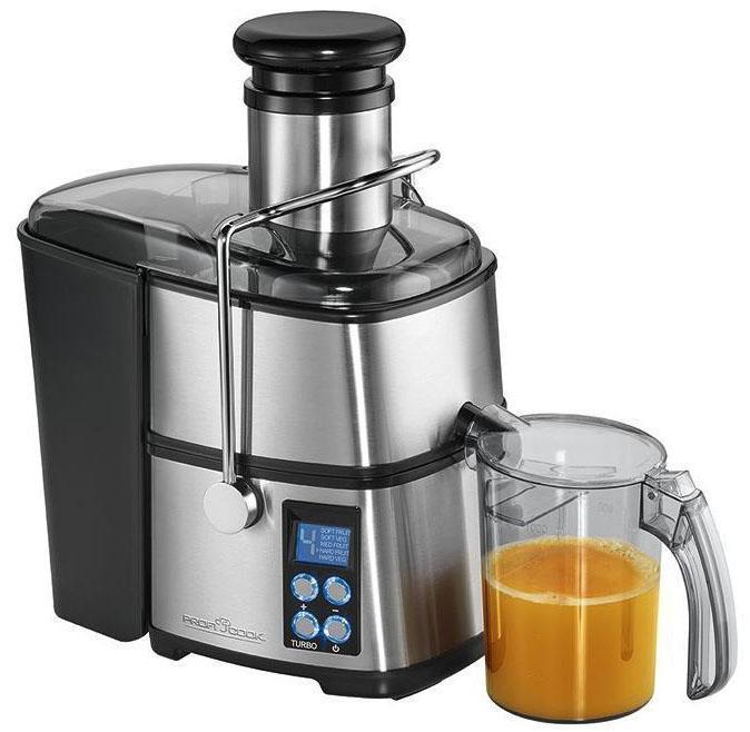 Profi Cook PC-AE 1070 соковыжималкаPC-AE 1070Автоматическая соковыжималка в корпусе из нержавеющей стали быстро и эффективно приготовит сок, богатый витаминами и минеральными веществами. Возможность готовить сок из цельных яблок, моркови и других фруктов и овощей. Максимум 18 000 оборотов в минуту Горловина диаметром 75 мм Контейнер для сока (объем 1 л) Контейнер для мякоти объемом 1,6 л 5 скоростных режимов, электронный контроль скорости Режим ТУРБО Многофункциональный LED-дисплей с синей подсветкой Фильтр и центрифуга из высококачественной нержавеющей стали Легко разбирается для мытья и чистки Защитная блокировка Мощность 800 Вт