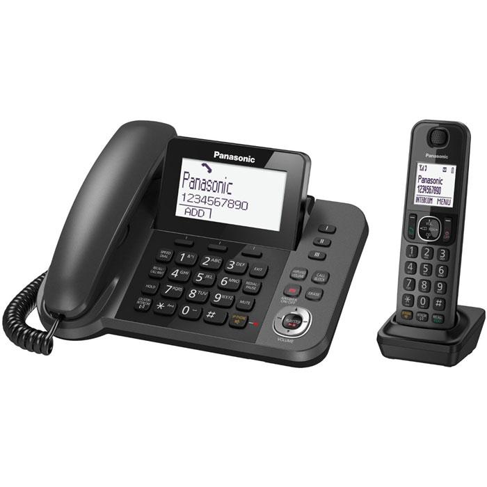 Panasonic KX-TGF320RUM DECT телефон с автоответчикомKX-TGF320RUMЦифровой беспроводной телефон Panasonic KX-TGF320RUM с автоответчиком с 1 проводной и 1 беспроводной трубкой. Удобный для глаз, большой поворотный дисплей: Большой дисплей 3,4 дюйма (8,6 см) с регулируемым наклоном с белой подсветкой. Клавиши для набора в одно касание: Позволяет осуществлять набор с помощью одного касания. Специальная кнопка блокировки вызовов на базовом блоке: Кнопка блокировки вызовов позволяет легко регистрировать номер в черном списке. Вспомогательная батарея на случай неожиданных перебоев в электросети: Во время перебоя в электросети заряженные батареи могут снабжать питанием базовый блок. Это позволит звонить с помощью трубки даже при отключении электропитания. Избавьте себя от нежелательных звонков, например от специалистов по телефонным продажам: Вы можете заблокировать любой выбранный номер, а также любые последовательности чисел (от 2 до 8 цифр), совпадающие с...