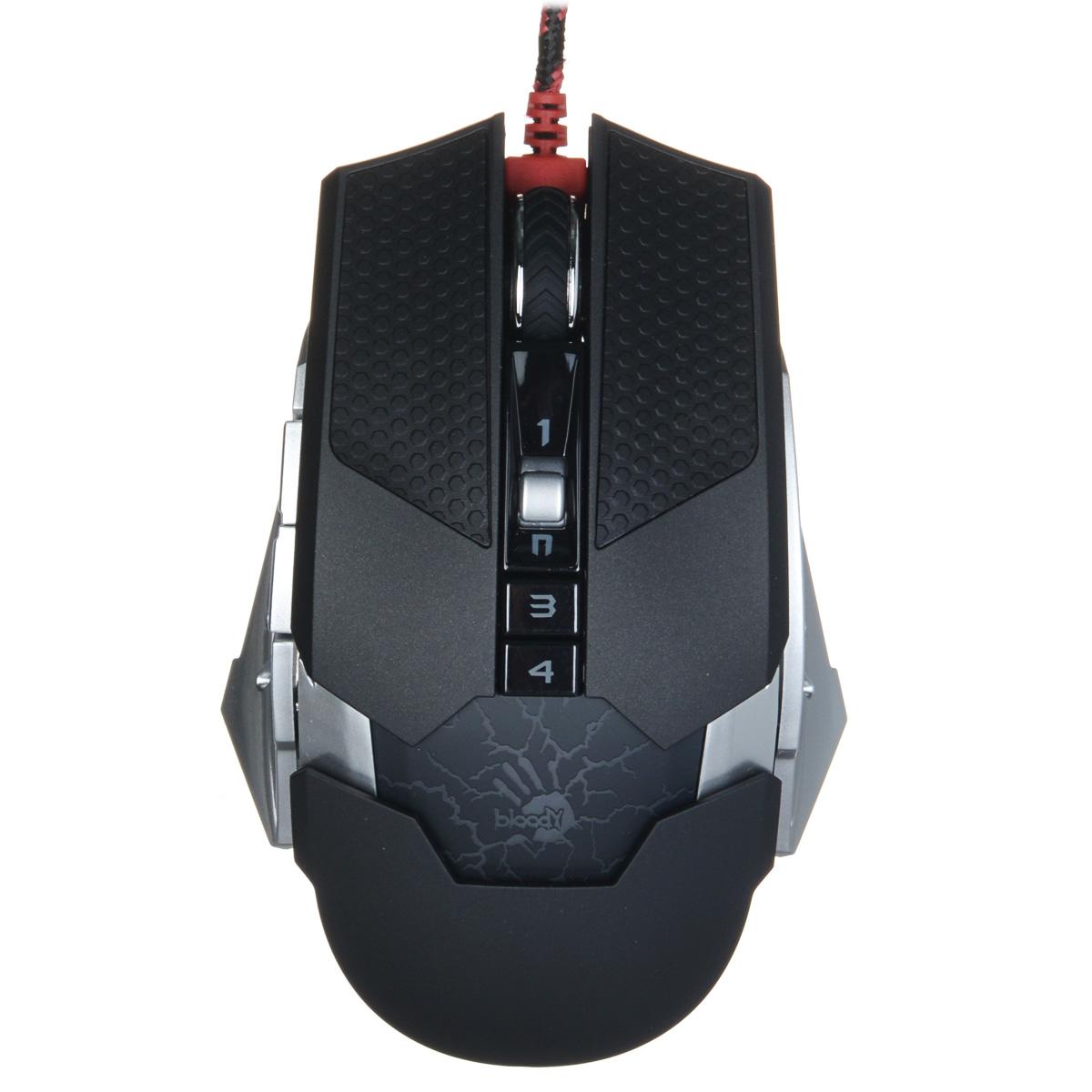 A4Tech Bloody Terminator TL50, Black Grey игровая мышь293575Игровая компьютерная мышь A4Tech Bloody Terminator TL50 оснащена сенсором с разрешением 100-8200 dpi и имеет девять программируемых кнопок и колесо прокрутки. Устройство оснащено также ультрапрочными, легко скользящими по поверхности ножками и переключателем Omron. Световой индикатор подскажет о выборе режима оружия, а логотип Bloody подсвечивается тремя цветами. A4Tech Bloody Terminator TL50 оборудована 160 килобайтами встроенной памяти для хранения настроек, регулируемых с помощью фирменного программного обеспечения.