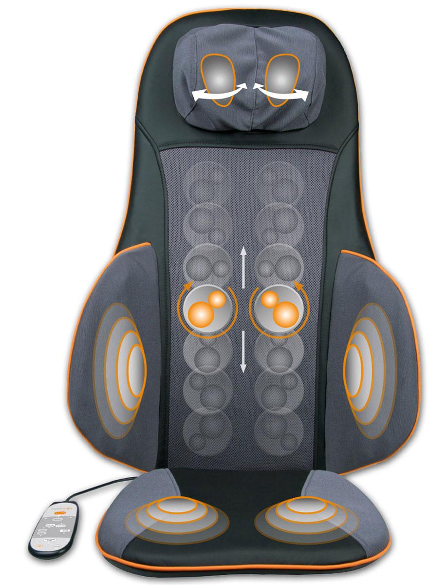 Medisana MC 825 массажная накидка00000729Массажная накидка Medisana MC-825 специально создана для тех, кто проводит долгие часы сидя. Она удобна и для тех, чья производственная деятельность проходит в офисе, за компьютером. В любой ситуации массажные накидки на кресло снизят нагрузку на позвоночник, подарят отдых поясничному отделу, мышцам шеи и плеч. Преимуществом данного варианта конструкции для полноценного отдыха без отрыва от производства становится продуманная система массажного воздействия на те части тела, которые максимально устают во время длительного нахождения в статичной позе. Такая массажная накидка готова работать в удобном для своего владельца режиме. В модели MC-825 предусмотрены несколько режимов, готовых приятно воздействовать на зоны бедер, поясницы, шеи, лопаток. Накидка способна работать на трех режимах интенсивности воздействия. Массаж выполняется отдельно в каждой зоне. Программа позволяет обеспечить приятный отдых сразу во всех точках соприкосновения массажной...