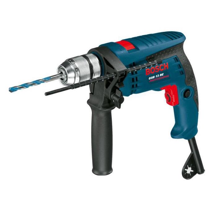 Ударная дрель Bosch GSB 13 RE0601217100мощность-600Вт, скорость вращения-0-2800 об/мин, число ударов-0-25000, бетон/сталь/дерево-13/10/25
