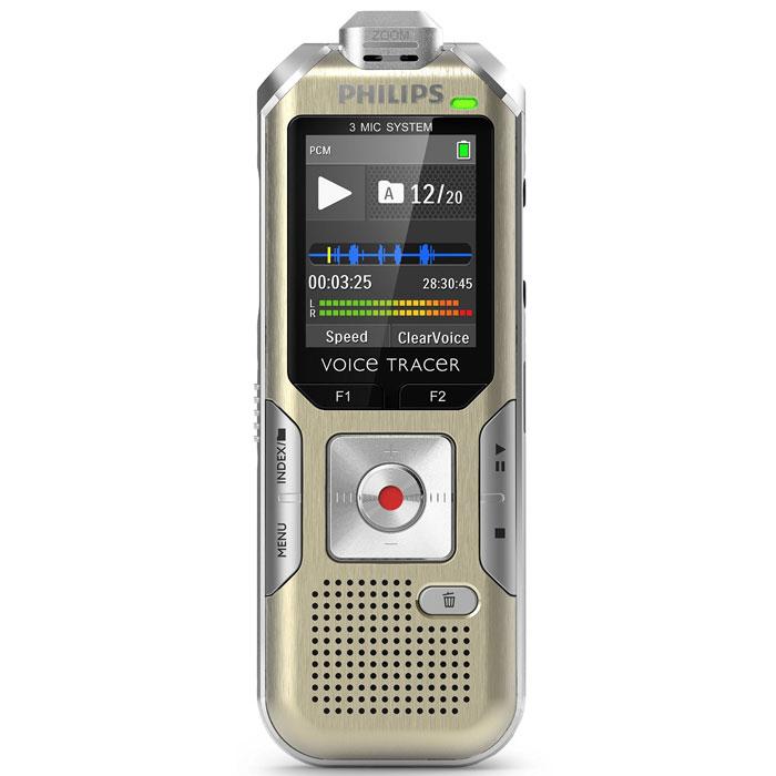 Philips DVT6500 диктофонDVT6500Philips DVT6500 - удобный диктофон в компактном корпусе толщиной всего 18 миллиметров. Устройство оборудовано встроенной памятью на 4 Гб, которую можно расширить при помощи карты памяти. Диктофон способен вести запись в течение 6 часов при высоком и 1140 часов при низком качестве. Гаджет оснащен 1,77 цветным ЖК-дисплеем, на котором отображается вся необходимая информация. Вы можете очень просто подключить Philips DVT6500 к компьютеру при помощи кабеля USB. Форматы данных: PCM, Mp3, WMA Функция активизации по голосу Изменение чувствительности микрофона Микрофонный вход Индикатор заряда батареи Индикатор оставшегося времени записи Функция сканирования сообщений Возможно использование в качестве флеш-накопителя Диаметр динамика 28 мм