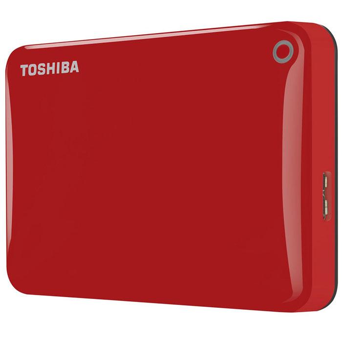 Toshiba Canvio Connect II 2TB, Red внешний жесткий диск (HDTC820ER3CA)HDTC820ER3CAToshiba Canvio Connect II дает вам возможность быстро передавать файлы с интерфейсом USB 3.0 и хранить до 3 ТБ данных на внешнем жестком диске. Устройство полностью готово для работы с Microsoft Windows и не требует установки программного обеспечения, так что ничего не может быть удобнее для хранения всех ваших любимых файлов. В офисе или в дороге его классический дизайн будет всегда уместен. Более того, Toshiba Canvio Connect II позволяет подключаться также и к оборудованию с совместимостью USB 2.0.Этот внешний накопитель обеспечивает доступ к вашим файлам практически из любого места и с любого устройства. Toshiba Canvio Connect II может легко превратить ваш компьютер в облачный сервер благодаря предустановленному ПО для удаленного доступа (накопитель должен быть подключен к компьютеру и Wi-Fi). Помимо удаленного доступа это устройство предоставляет своему владельцу 10 ГБ дополнительного места в облачном сервисе. Программное обеспечение NTI Backup Now EZ обеспечивает удобное и надежное создание резервных копий и восстановление всех ваших папок, файлов и операционной системы.Canvio Connect II оборудован датчиком ударов, сигнал которого переводит головку жесткого диска в безопасное положение, за счет чего снижается риск повреждения носителя и потери данных при падении накопителя. Накопитель имеет уже установленный драйвер NTFS для Mac, поэтому вам не придется волноваться из-за типа вашего компьютера - просто подключите Canvio Connect II и получите доступ к вашим файлам.