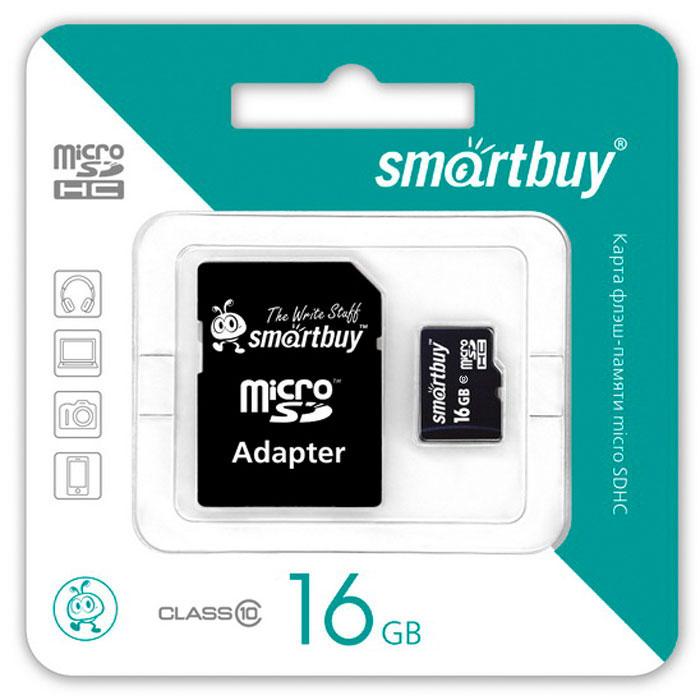 SmartBuy microSDHC Сlass 10 16GB карта памяти (с адаптером SD)SB16GBSDCL10-01Помимо высокой скорости работы и достаточно большого размера памяти карт памяти SmartBuy microSDHC Сlass 10 16GB отличается своей надежностью хранения информации. Несмотря на маленькие размеры карты памяти, она является идеальным вариантом хранения цифровой информации в устройствах с поддержкой MicroSDHC, miniSD, SD.