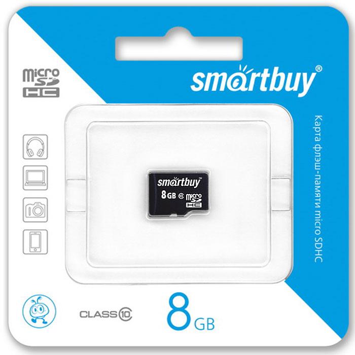 SmartBuy microSDHC Сlass 10 8GB карта памяти (без адаптера)SB8GBSDCL10-00Высоко скоростная 8-гигабайтная карта памяти SmartBuy microSDHC Сlass 10 8GB. Помимо высокой скорости работы и достаточно большого размера памяти карта памяти SmartBuy microSDHC Сlass 10 8GB отличается своей надежностью хранения информации. Несмотря на маленькие размеры карты памяти, она является идеальным вариантом хранения цифровой информации в устройствах с поддержкой MicroSDHC, miniSD, SD.
