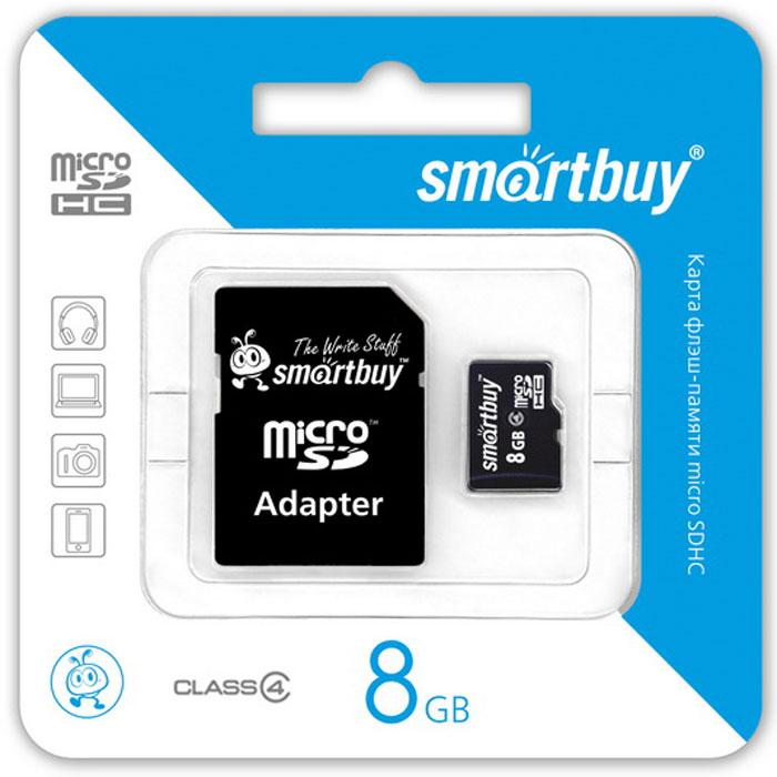 SmartBuy microSDHC Сlass 4 8GB карта памяти (с адаптером SD)SB8GBSDCL4-01Высоко скоростная 8-гигабайтная карта памяти SmartBuy microSDHC Сlass 4 8GB. Помимо высокой скорости работы и достаточно большого размера памяти карта памяти отличается своей надежностью хранения информации. Несмотря на маленькие размеры карты памяти, она является идеальным вариантом хранения цифровой информации в устройствах с поддержкой MicroSDHC, miniSD, SD.