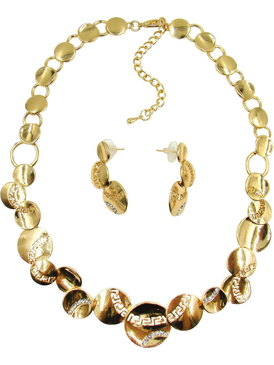 Комплект украшений Taya: серьги, колье; цвет: золотистый. T-B-10208-SET-GOLD