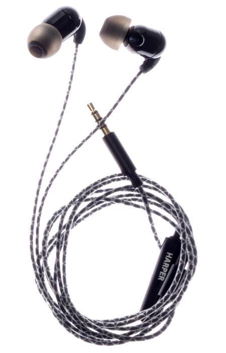Harper HV-801 наушникиHV-801HARPER представляет керамические наушники HV-801, в которых неодимовые микродинамики помещены в керамический корпус для обеспечения высокого качества звучания. Провод этих наушников заключен в специальную оплетку, что не дает ему спутываться во время использования. - Кабель длиной 1,2 метра идеально подходит для использования на улице - Встроенный пульт и микрофон для быстрого переключения между музыкой и вызовами - Мягкие силиконовые накладки 3 размеров для максимального комфорта - Имеется клипса для фиксации провода на одежде.