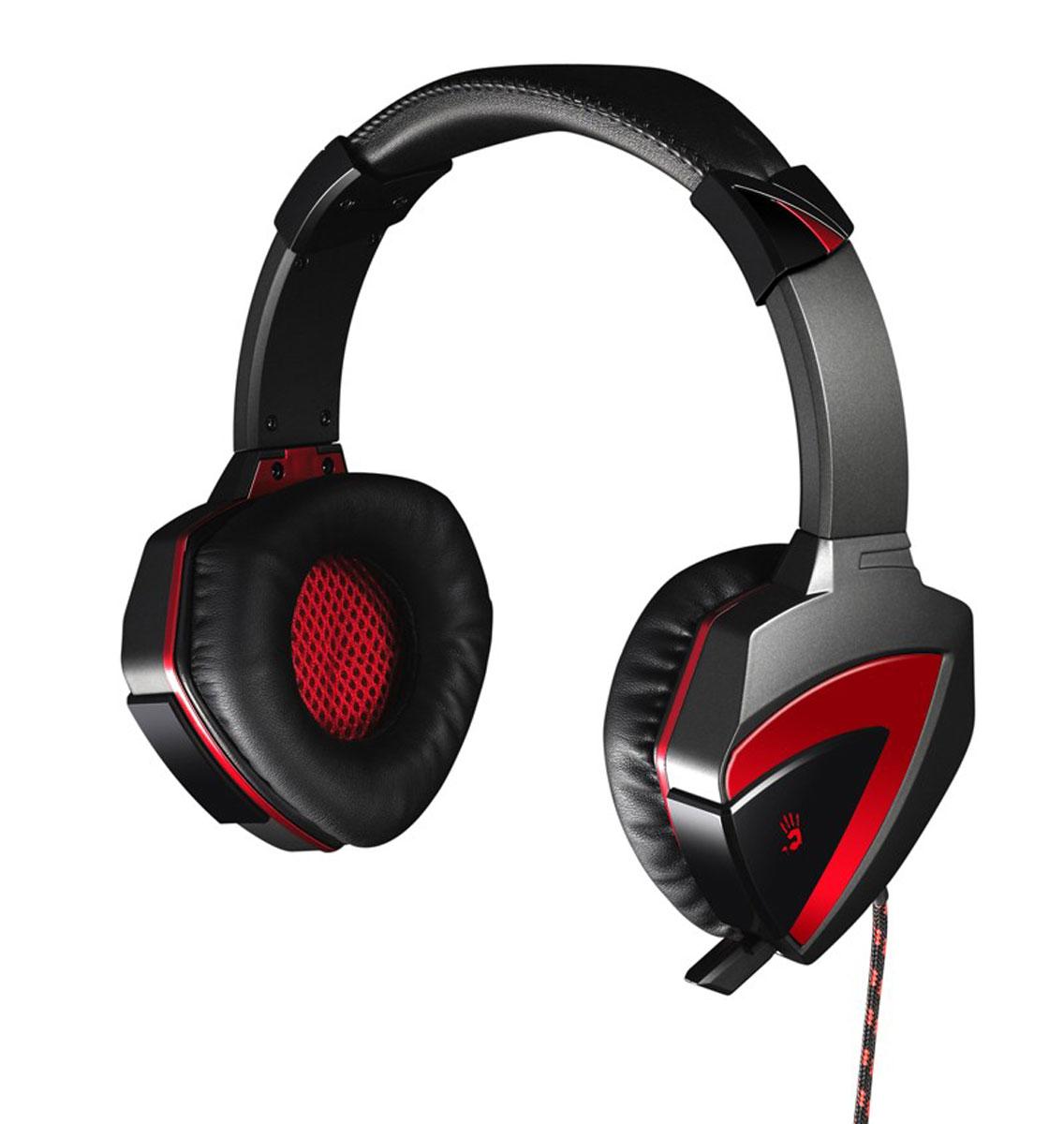 A4Tech Bloody G501, Black игровая гарнитураG501Игровая гарнитура Bloody G501 обеспечивают полноценное объемное звучание в формате 7.1, благодаря чему вы сможете почувствовать себя участником происходящего на экране. Гарнитура создана для полного погружения игрока в виртуальный мир!Выдвижной микрофон:Если вы не используете микрофон, то можете его спрятать и использовать гарнитуру как мониторные наушники.Альтернативные настройки голоса в микрофоне: Воспользуйтесь одним из пяти эффектов настройки звучания голоса выбирайте режим работы микрофона (Original / Warcraft / Duck / Male-Female / Female-Male).Безупречный комфорт:Оголовье наушников регулируется, а амбушюры созданы специально для комфортного прослушивания. Раковины вращаются на 360 градусов, что создает максимальный комфорт для пользователя!Шумоподавление:Шумы полностью подавляются, что позволяет игроку не отвлекаться от игры.Легкий вес и компактность: Вес гарнитуры всего 258 г, благодаря легкости, шея и голова игрока находится в комфорте и не устает.Bloody G501 не обычная игровая гарнитура, эта гарнитура обладает всем спектром настроек профессионального уровня, что удовлетворит требования любого геймера. Все это было достигнуто путем инновационных разработок и многолетнего опыта. С гарнитурой Bloody играть в вашу любимую игру станет приятнее и вы ощутите звук на все 100%!Характеристики микрофона:Направленность микрофона: всенаправленныйЧувствительность микрофона: -58 дБЧастотный диапазон: 50 - 16000 Гц