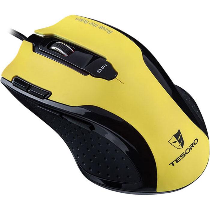 Tesoro Shrike TS-H2L, Yellow игровая мышь0799430373456Игровая мышь Tesoro Shrike TS-H2L оборудована продвинутым лазерным сенсором разрешением 5600 DPI, что позволяет игроку осуществлять точнейший контроль в RTS и RPG. Гибкая система настройки разрешения и возможность его регулировки на лету откроют перед вами новые горизонты! Удобная форма и резиновые вставки по бокам позволят играть долго и напряженно, а система регулировки веса поможет точно настроить мышь под себя. 5 режимов переключения DPI: 800/1600/3200/4800/5600 До 8 макросов может быть сохранено в каждом из 5 профилей 128 Кб встроенной памяти Регулируемая частота опроса до 1000 Гц Эргономичный корпус с резиновыми вставками по бокам Дополнительные грузики: 3x10 г, 1x5 г Отрегулируйте вес мыши в пределах 35 граммов