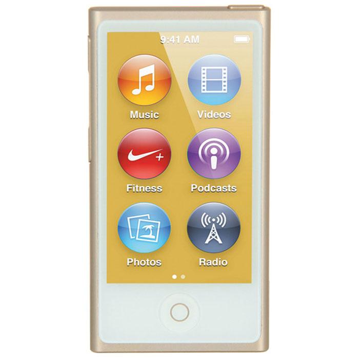 Apple iPod nano 16 GB (7 Gen), Gold MP3-плеерMKMX2RU/AApple iPod nano 16 GB (7 Gen) - самый тонкий iPod. Его толщина всего 5,4 мм, а размер сравним с размером кредитной карты. 2,5-дюймовый дисплей Multi-Touch почти в два раза больше дисплея предыдущего iPod nano, так что на экране будет еще больше музыки, фотографий и видео. Кнопки позволяют легко управлять воспроизведением и громкостью. Новый корпус из анодированного алюминия выглядит утонченно и элегантно. И, конечно, iPod nano неизменно радует разнообразием своих цветов - ярких и абсолютно неотразимых.Задаем ритм:Просто прикоснитесь, чтобы включить вашу любимую песню. Или целый альбом. Или все композиции одного исполнителя. Вы можете просматривать медиатеку по жанрам или композиторам. Полистайте всю коллекцию музыки - обложки альбомов на увеличенном экране выглядят просто великолепно. Или просто встряхните iPod nano - и он перейдет к случайной песне из вашей медиатеки.Видео. Маленький большой экран:Теперь вы можете смотреть бесплатные подкасты и домашнее видео на широкоэкранном 2,5-дюймовом Multi-Touch дисплее iPod nano. Коснитесь для воспроизведения, перемотки вперед/назад и паузы. С iPod nano вы всегда и везде сможете развлечься.Технология Bluetooth:Теперь слушать музыку будет еще удобнее - потому что iPod nano оснащен встроенной технологией Bluetooth 4.0. Это значит, что к нему можно легко подключать беспроводные наушники, динамики и автомобильные аудиосистемы, поддерживающие технологию Bluetooth. Когда нет проводов, вы чувствуете себя гораздо свободнее. Вам, например, не придется тратить время на распутывание наушников. А если ваша автомобильная аудиосистема поддерживает Bluetooth, то как только вы сядете за руль, Ваш iPod nano сможет начать воспроизведение с того места, на котором вы остановилисьРадио:FM-радио на iPod nano будет держать вас в курсе событий. Футбольные матчи, истории о знаменитостях, любимые ток-шоу - слушайте все, что хотите. Просто подключите наушники и коснитесь дисплея - на нем появятся э